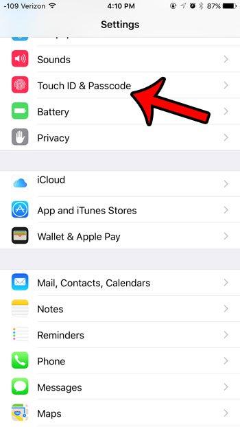 откройте сенсорный идентификатор и меню пароля