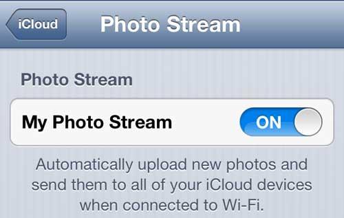 включить поток фотографий iphone