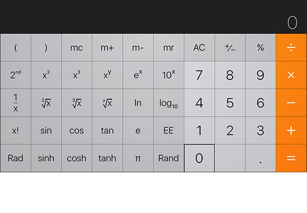 как найти расширенные функции калькулятора iphone