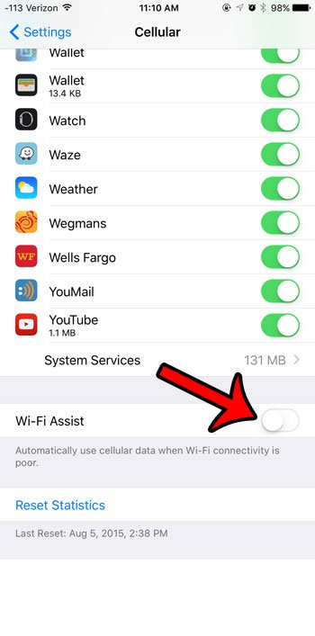 отключить опцию Wi-Fi