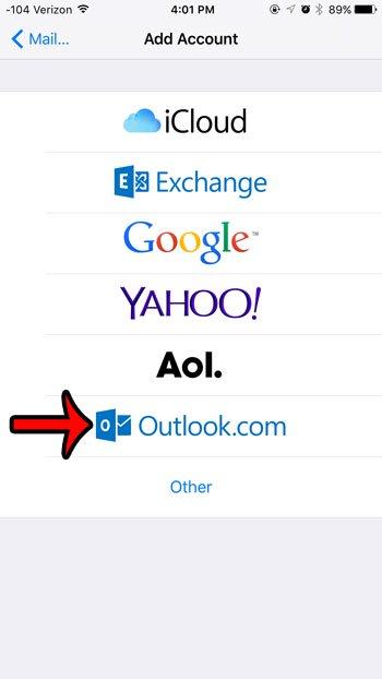 выберите опцию outlook.com