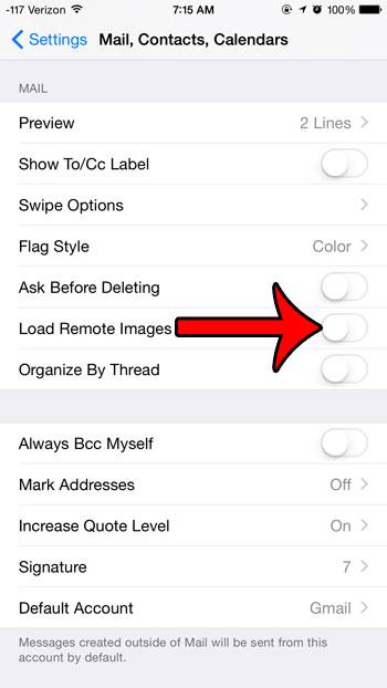отключить опцию загрузки удаленных изображений