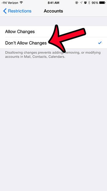 заблокировать изменения аккаунта