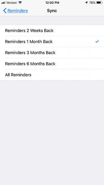 как изменить длительность синхронизации напоминания iphone