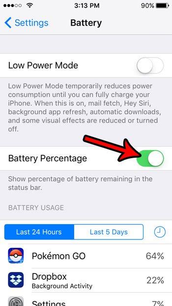 как показать батарею в процентах на iPhone