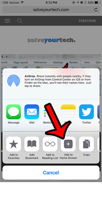 нажмите кнопку добавить на главный экран