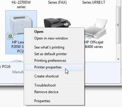 Свойства принтера p2050