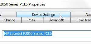 Настройки устройства p2050