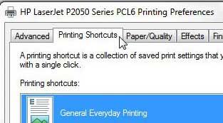 вкладка ярлыков печати Laserjet 2055