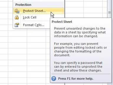 защитить лист Excel 2010