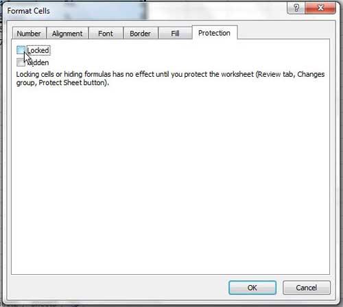 как заблокировать ячейку в Excel 2010