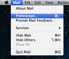 Открыть настройки почты
