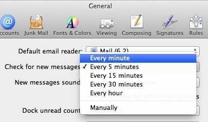 Выберите частоту проверки почты
