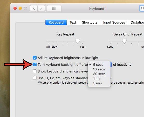 отключить подсветку клавиатуры на MacBook