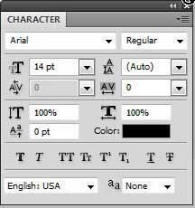 панель символов фотошоп cs5