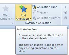 открыть меню добавления анимации