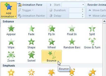 как заставить картинку отскочить в powerpoint 2010