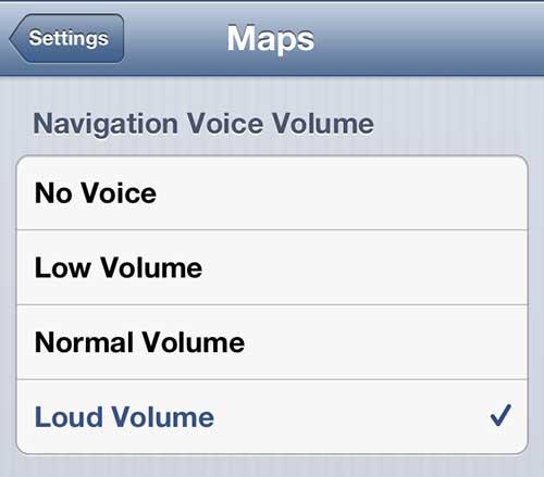 как изменить громкость навигации карт iphone 5