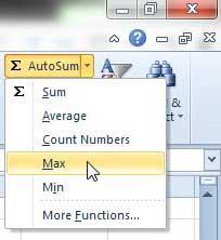 как сделать максимальную функцию в Excel 2010