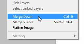 используйте команду слияния, чтобы объединить два слоя в Photoshop CS5