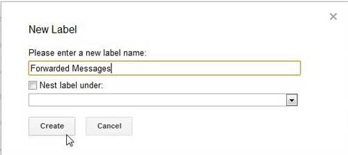 создать имя ярлыка Gmail