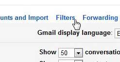 меню фильтров Gmail