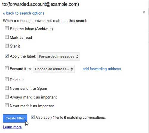 как автоматически перемещать пересылаемые сообщения в gmail