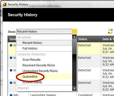 Как просмотреть файлы на карантине в Norton 360
