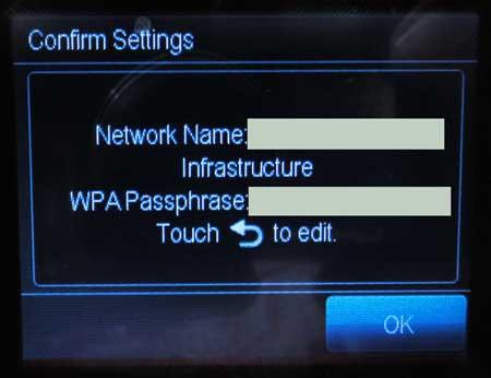 подтвердить имя сети и пароль