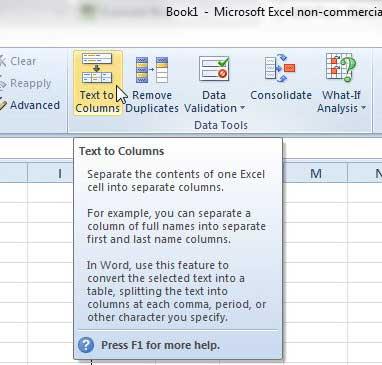 Как разделить данные в один столбец на два столбца в Excel 2010
