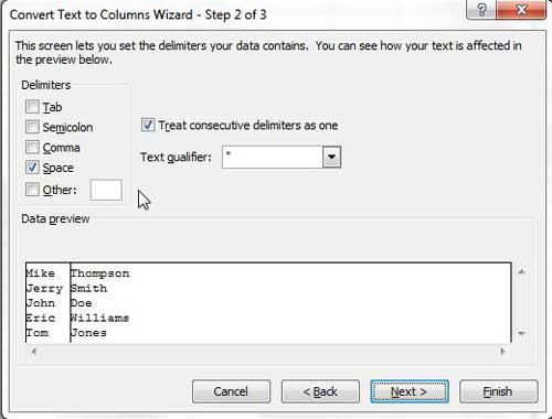 выберите Excel 2010 символьный разделитель