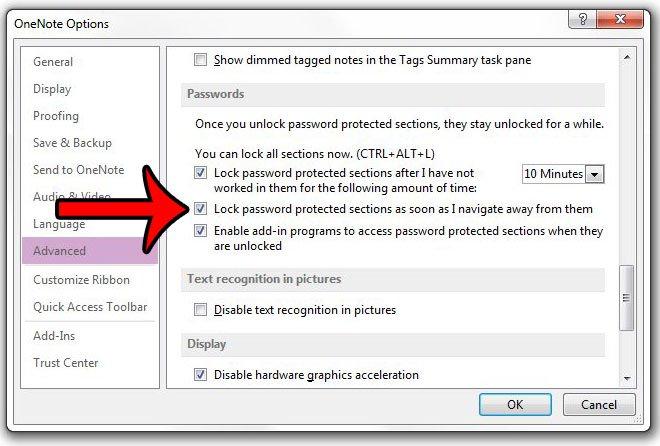 немедленно заблокировать защищенный паролем раздел в onenote 2013