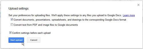 начать загрузку в Google Docs