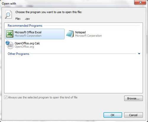 как открыть CSV-файлы с Excel по умолчанию