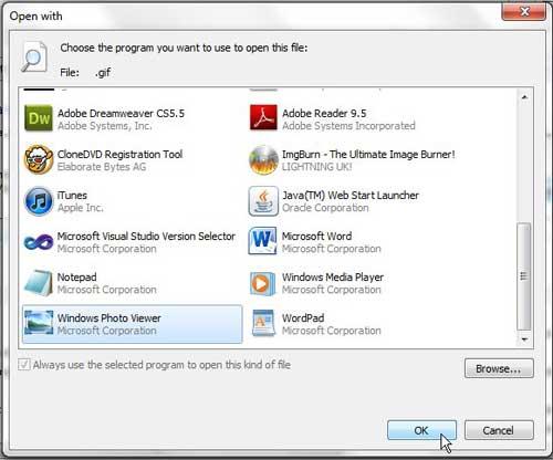 выберите программу, чтобы открыть GIF с Windows 7