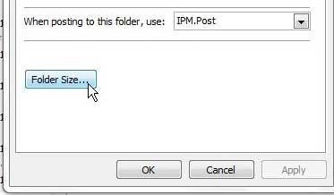 """нажмите кнопку размера папки на вкладке """"Общие"""""""