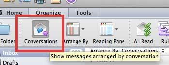 как перестать группировать сообщения по разговору в outlook 2011