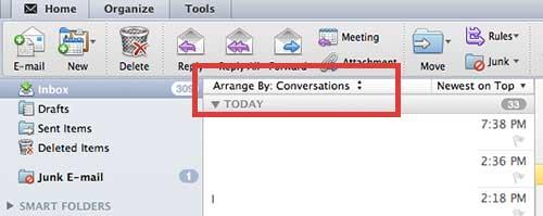 еще один вариант сортировки в Outlook 2011