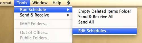 откройте меню редактирования расписаний в Outlook 2011