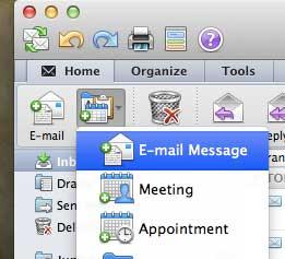 нажмите новый, затем нажмите сообщение электронной почты