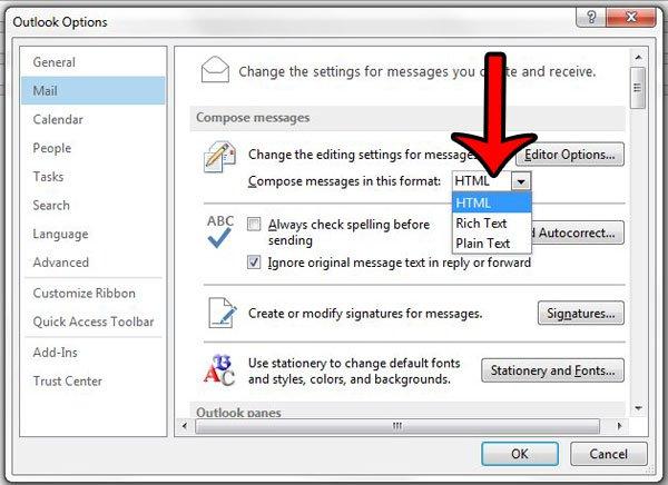 изменить формат по умолчанию в Outlook 2013