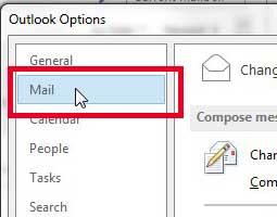 выберите опцию почты