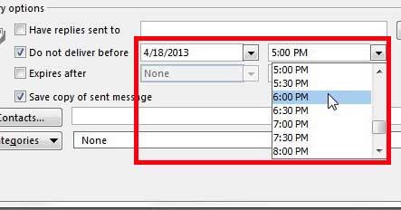 укажите дату и время отправки письма