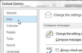 нажмите на почту в левом столбце окна параметров Outlook