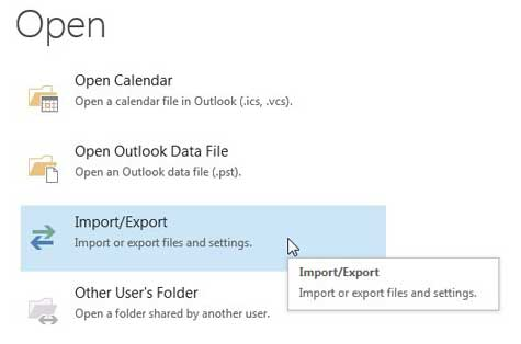 нажмите опцию импорта / экспорта