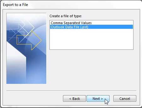 выберите тип файла, который вы хотите экспортировать