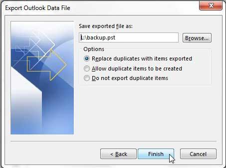 Как экспортировать электронные письма в Outlook 2013