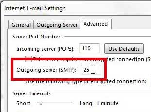 как найти номер порта smtp в outlook 2013