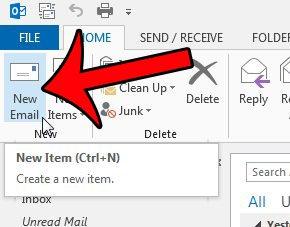 нажмите кнопку новой электронной почты