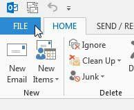 щелкните вкладку файла Outlook 2013